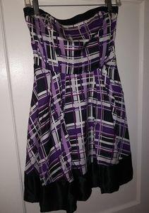 Purple plaid strapless baby doll dress